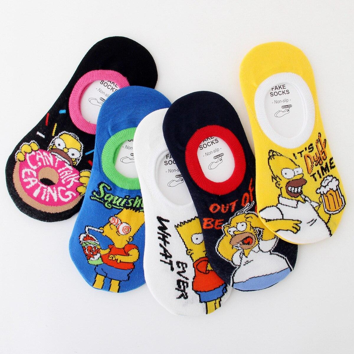 Calcetines de mujer para niñas con estampado de Barrio Sésamo calcetines hasta el tobillo con caricaturas calcetines cortos de algodón Simpsons lindo calcetín Kawaii calcetines invisibles sox