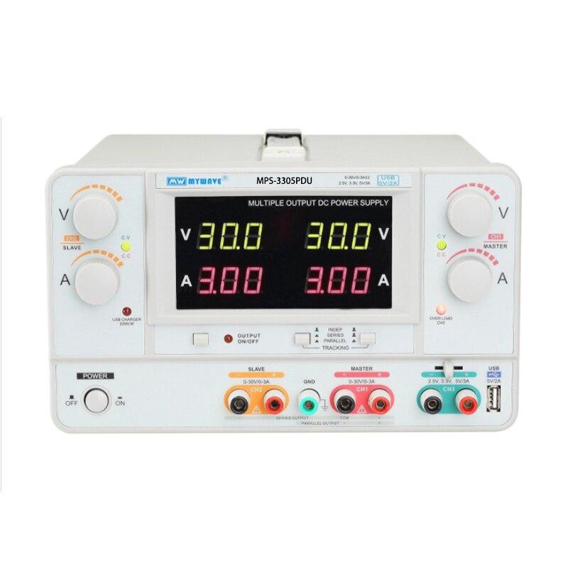 Fuente de alimentación de Banco Variable ajustable Digital de precisión MPS-3305PDU laboratorio de salida Dual 30V 5A DC fuente de alimentación regulada
