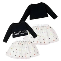 baby long sleeve top mesh skirt two piece casual black letter print round neck dress cute white flower fashion sets