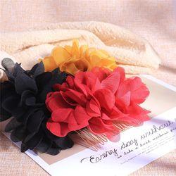 Barroco vintage feminino nupcial flor artificial slide pente clipe de cabelo casamento banquete baile liga hairpin lado barrette