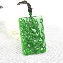 Collar con colgante de dragón de Jade VERDE Natural tallado a mano, amuleto de joyería jadeíta, accesorios de moda para hombres y mujeres, regalos