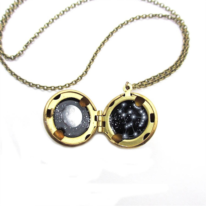 12 unids/lote Orion Mini collar de la constelación de la luna llena y latón medallón joyería