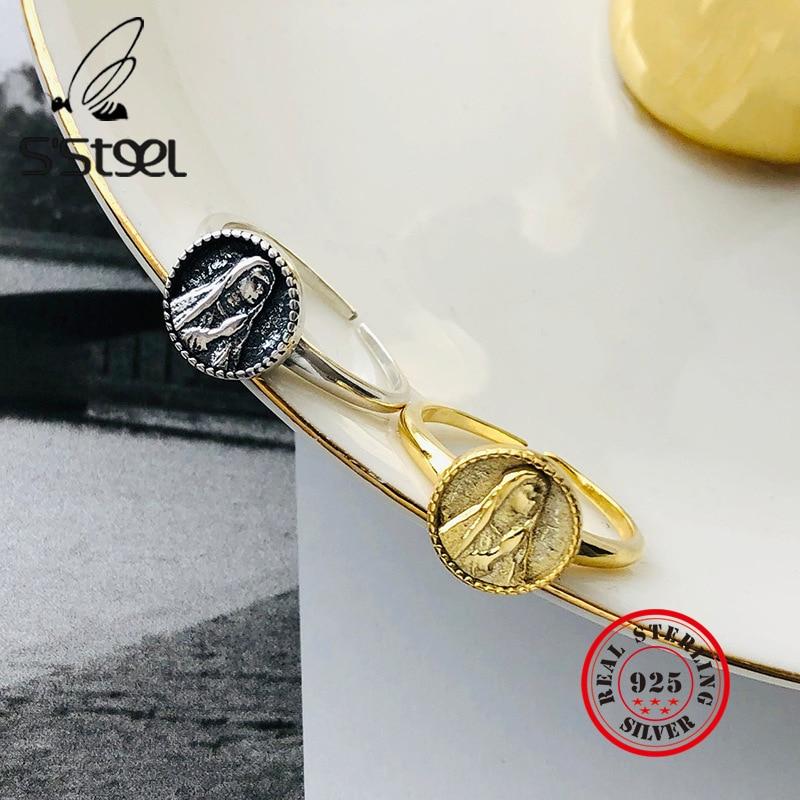 Anillo de acero de Plata de Ley 925 Para Mujer, retrato redondo, Anillos de apertura de oro Vintage, Anillos de Plata de ley 925 Para joyería de Mujer
