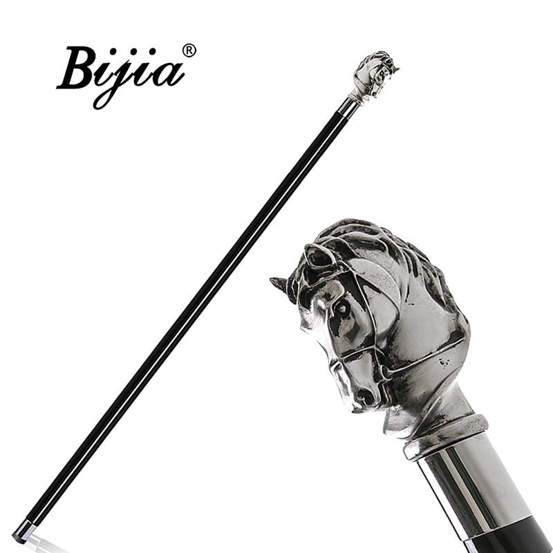 Silver Horse Head Walking Stick,Vintage Crutch High Quality,Fashion Luxury Senior Cane,Suitable for Men Gentleman Adornment Gift