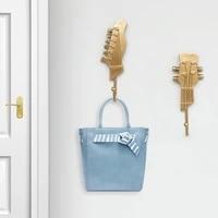 3pcs housekeeper on wall nordic guitar hooks resin crafts home decoration wall hooks key rack sundries hanger wall shelf