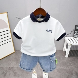 Summer Baby Clothes Suit Children Fashion Boys Girls Lapel T-Shirt and Shorts 2Pcs/Set Toddler Casual Clothing Kids Tracksuits