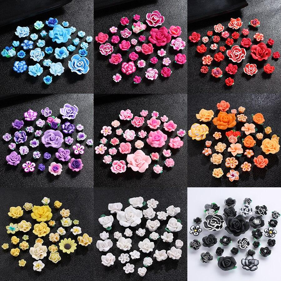 28 teile/lose Handgemachte 12-40mm Flatback Fimo Polymer Clay Blume Perlen Charme Für Telefon Shell Diy Halskette Schmuck machen Liefert