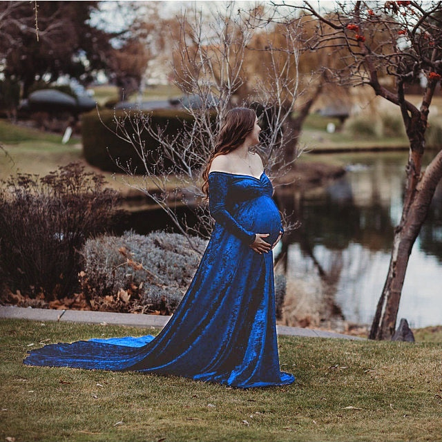 New Elegence Maternity Dresses Pleuche Long Pregnancy Photography Dress Maxi Maternity Gown For Pregnant Women Photo Shoot Props enlarge