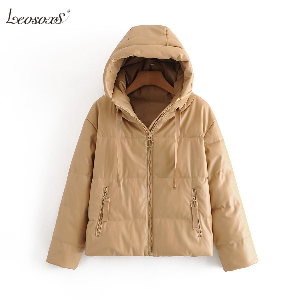 Women Thick Warm PU Faux Leather Padded Coat 2021 Winter Zipper Hooded Jacket Parka Long Sleeve Pockets Outerwear Tops enlarge