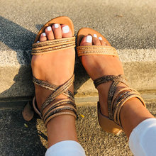 Flat Women Sandals Summer Lady Open Toe Roman Beach Shoes Female Bohemian Handmade Weave Comfortable