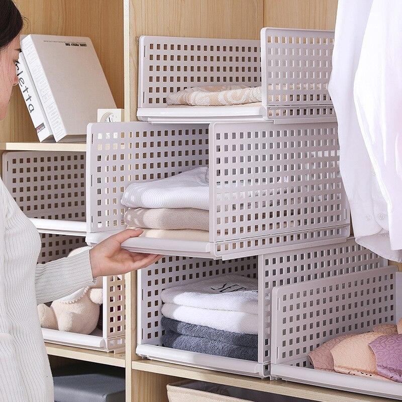 1 قطعة الطبقات خزانة مقسم درج نوع للإزالة البلاستيك الملابس أشتات تخزين الرف الفضاء إنقاذ المنزل نوم المنظم