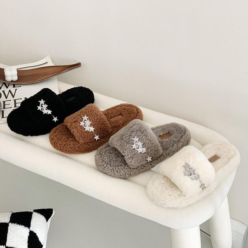 Luxury Designer Women Fur Rhinestone Slippers Platform Wedges Heel Solid Fluffy Furry Slides Outside Sexy Shoes Ladies Whosale