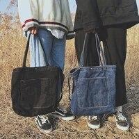 washed denim canvas women bag shoulder bag fashion handbag casual versatile canvas bag shopping bag handbags for women