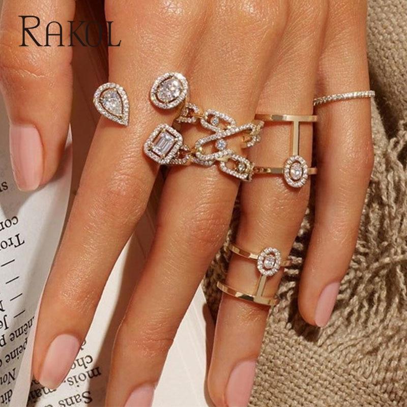 RAKOL Luxury Geometric Cubic Zirconia Open Rings for Women Fashion Anniversary Best Birthday Party Dress Trendy Jewelry RR20108