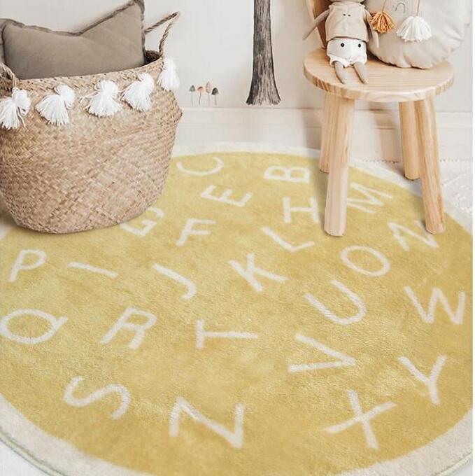سجادة دائرية من المخمل السميك على الطراز الاسكندنافي مع حروف مطبوعة ، لغرفة النوم ، غرفة الدراسة ، الأريكة ، القهوة ، غرفة الأطفال