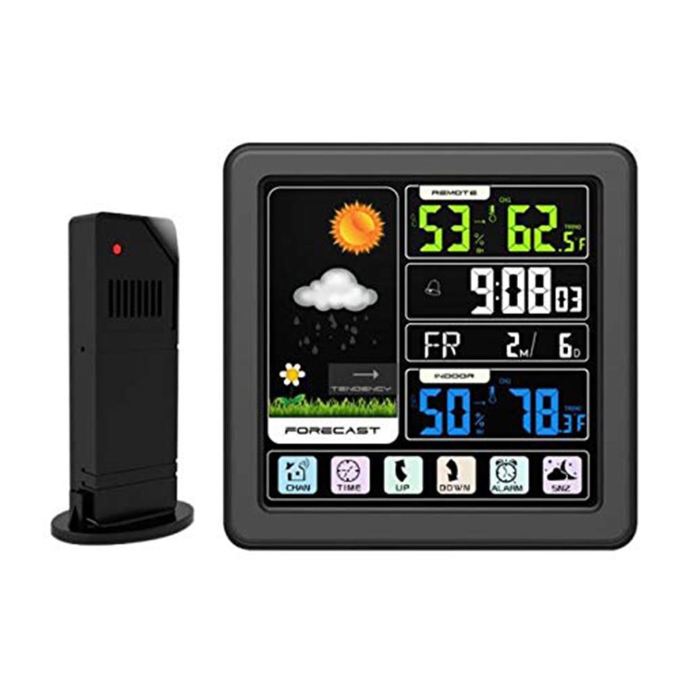TS 3310 Mini humedad HD pantalla táctil inalámbrico Digital interior USB carga estación meteorológica exterior Sensor de temperatura predicción