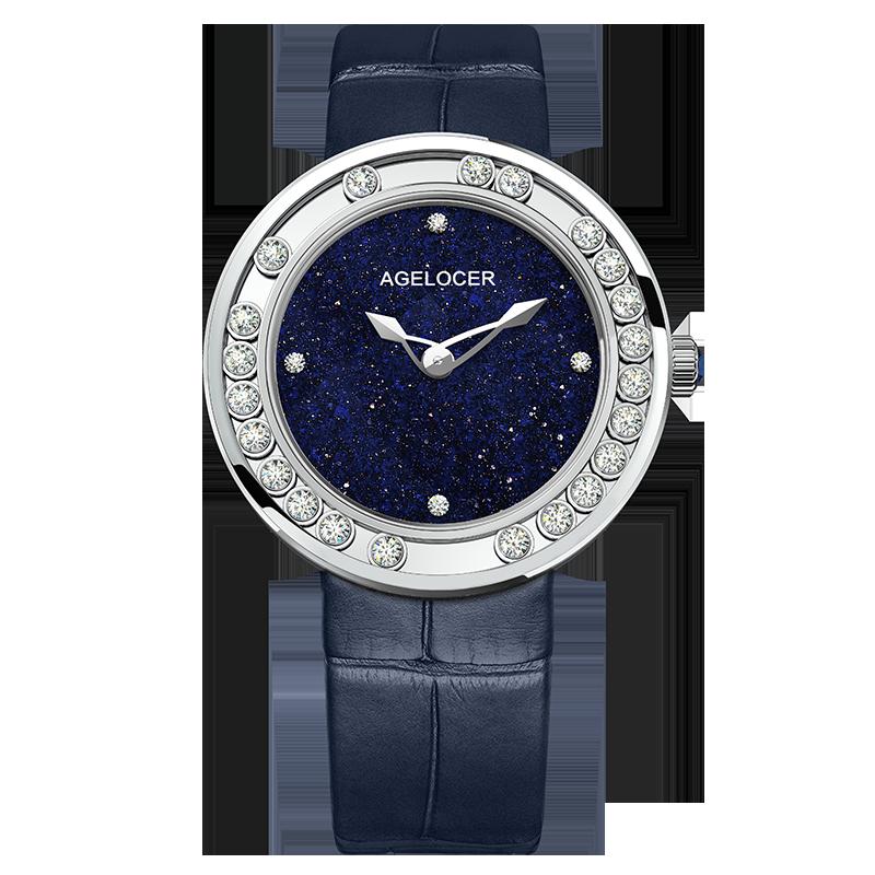 AGELOCER Sapphire Ladies Watch Women Waterproof Diamond Gold Blue Leather Wrist Watches Swiss Brand Bracelet Relogio Feminino enlarge