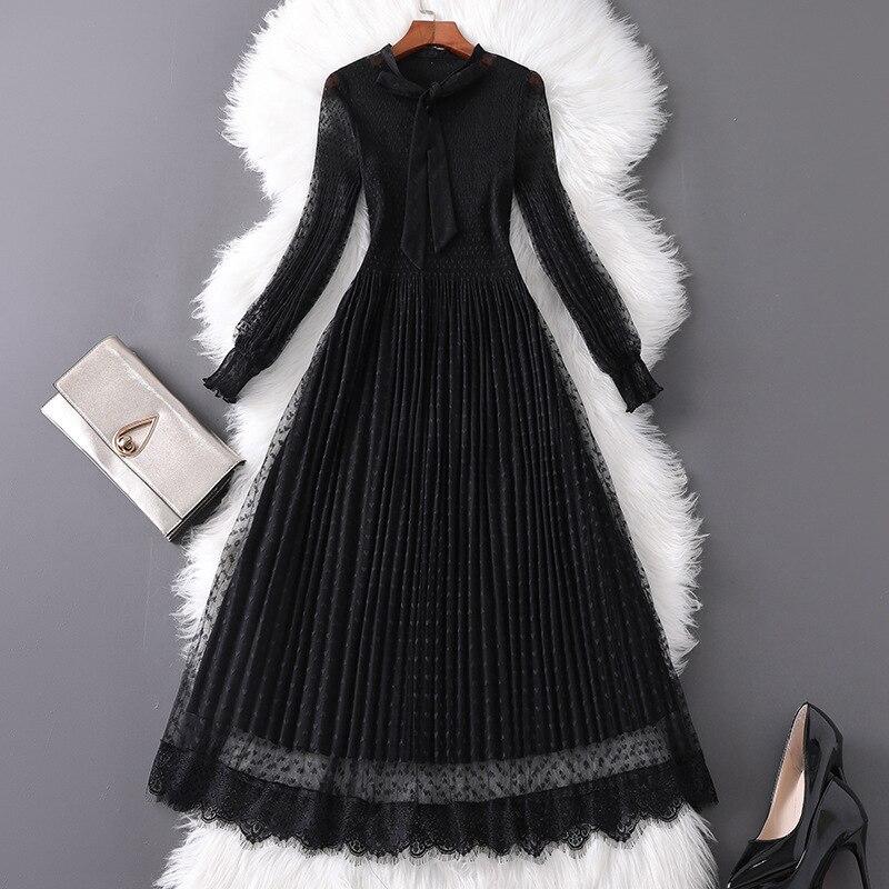 Vestido midi elegante para mujer, de lunares, manga larga, negro, malla, estilo gótico, cuello de lazo, línea A, elegante para otoño 2019