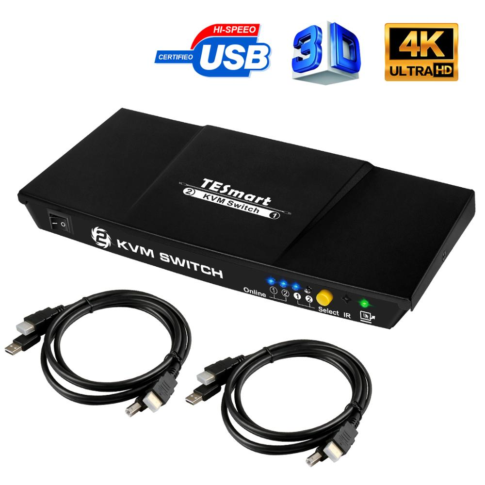 TESmart New High Quality 2 Port USB KVM HDMI Switch with Extra 2.0 Support 4K*2K (3840x2160)