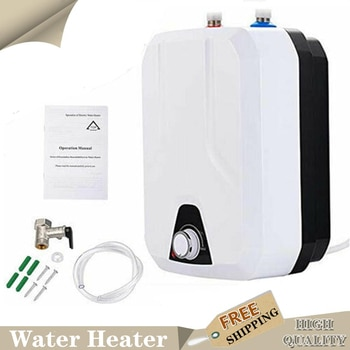 Electric Water Heater 8L Tankless Electric Instant Hot Water Heater Heating Machine Home With Shower Head Kit Adjustable 35-65℃