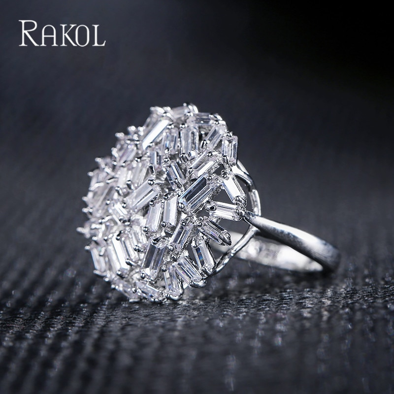 Rakol luxo baguette zircão cúbico grande flor anéis de dedo nupcial para as mulheres fashio festa jóias presentes natal