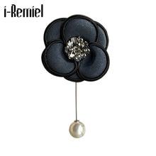 I-remiel decoração tecido flor broche cardigan pérola cachecol retro camélia corsage longa agulha broches pinos pano arte colar