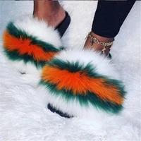 summer womens fluffy colorful fox fur slippers female furry sandals girls plush slides house shoes ladies fashion flip flops45