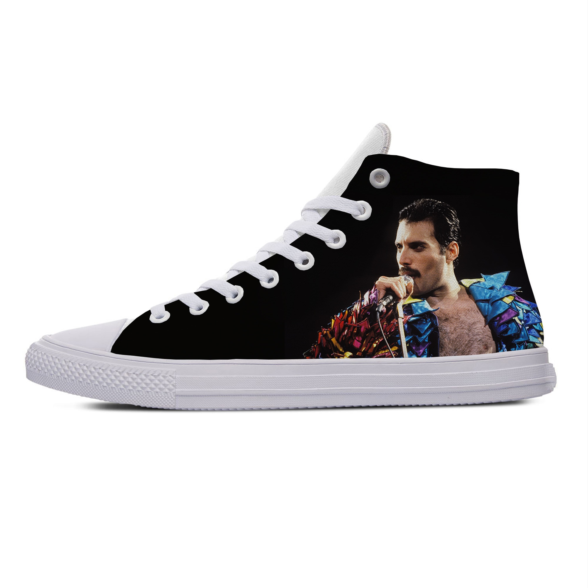 Cool Freddie Mercury Queen Rock Hot Handsome Fashion Casual Canvas Shoes Popular Breathable Lightweight Sneakers Men Women