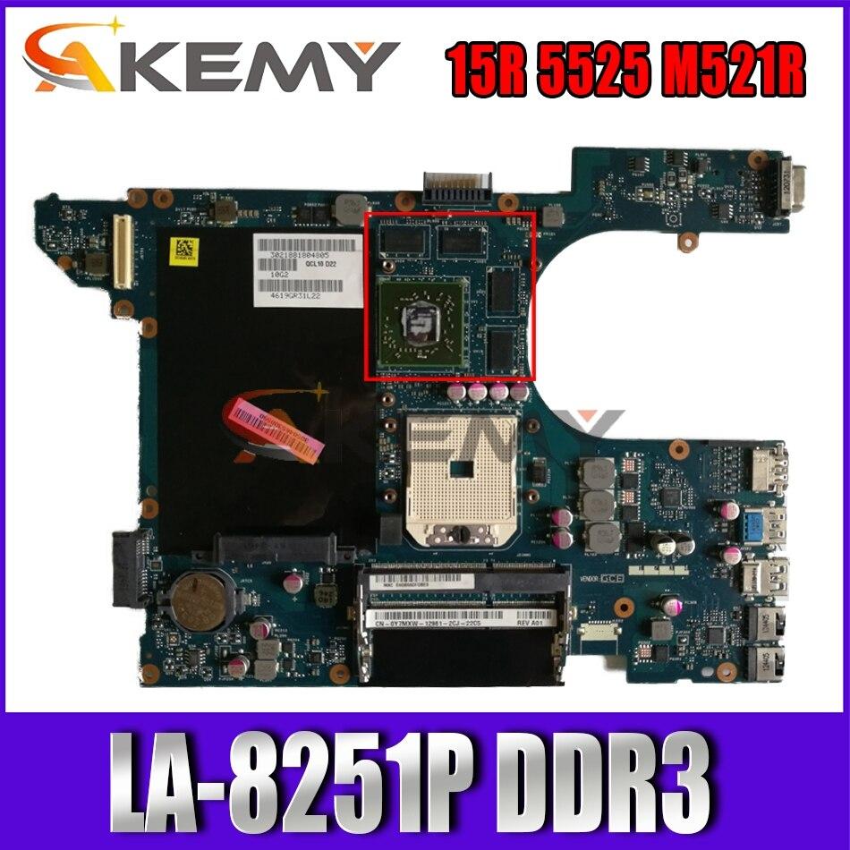 Akemy 0Y7MXW Y7MXW لديل 15R 5525 M521R اللوحة المحمول LA-8251P DDR3 اختبار