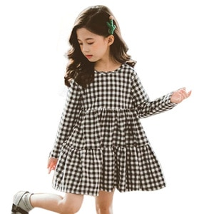 Dress For girls Big Bow Girls Dress Casual Plaid Dress Girl 2020 Autumn Spring Kids Dresses For Girls 6 8 10 12 14