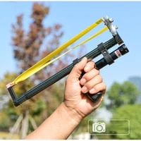 straight rod high precision telescope high power red laser flat rubber band stainless steel outdoor hunting slingshot