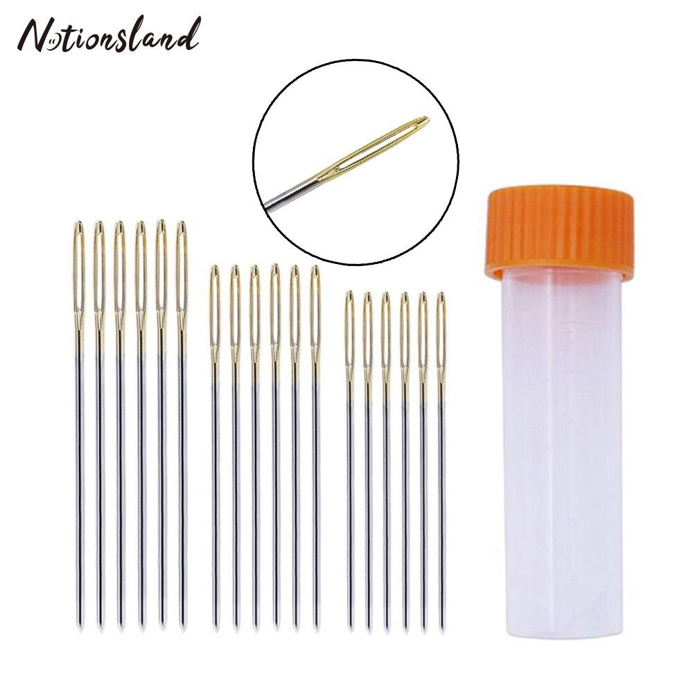 Estuche de aguja de bordado de plástico con 18 Uds., agujas de coser de ojo grande, suministros de costura para costura, herramienta para coser bordados