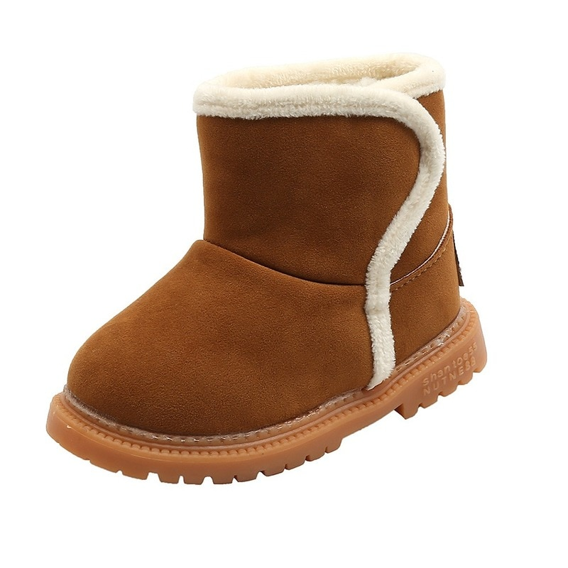2020 Children Winter Snow Boots Lambswool Girls Shoes Flat Outdoor Bordered Suede Kids Boy Baby School Shoes Ankle Boots D08192