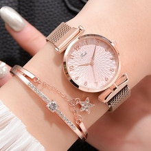 Luxury Women's Watches Set Elegant Female Wristwatches Magnetic Mesh Band Rose Woman Watch Bracelet