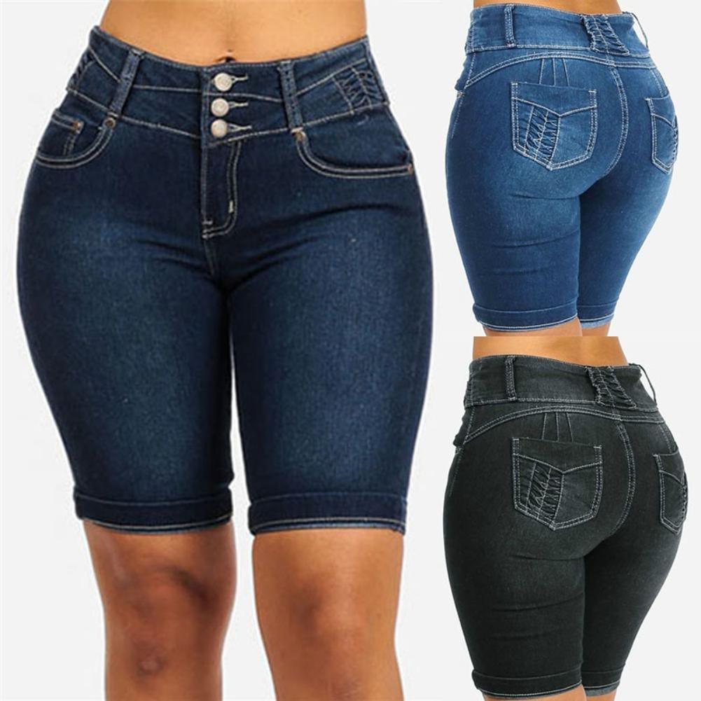 New Sexy Fashion Women Ladies Denim Skinny Shorts High Waist Stretch Bodycon Jeans Slim Shorts Knee