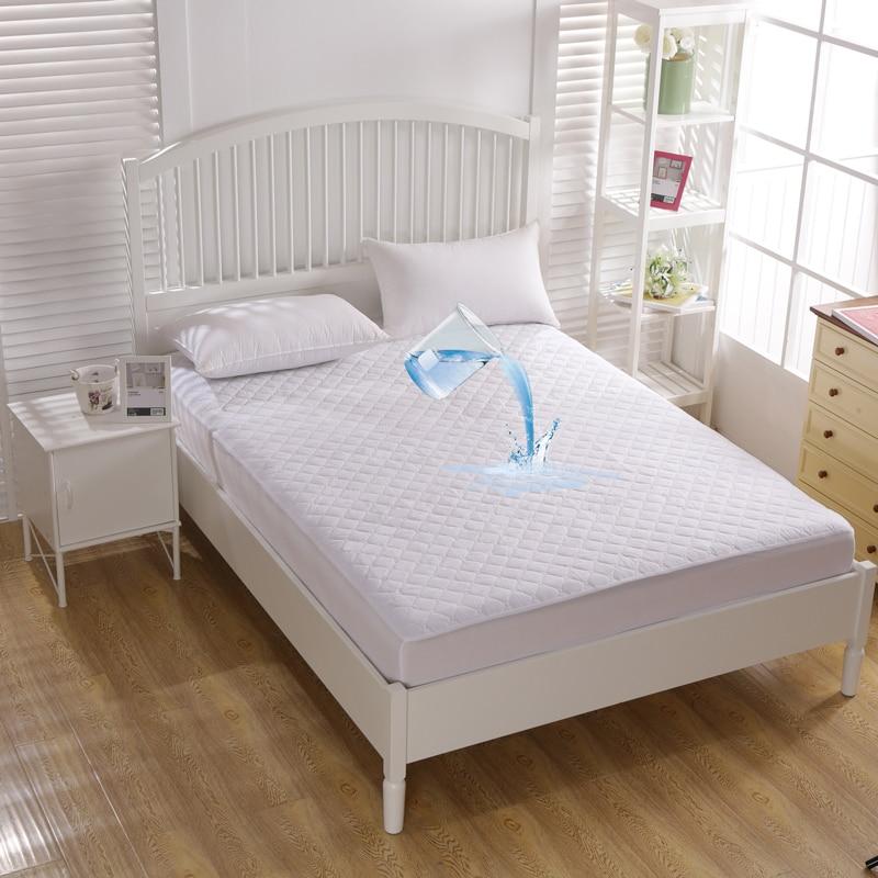 أبيض اللون مرتبة مبطنة مقاومة للماء غطاء مرتبة الملكة حجم فندق مكافحة العث اللحف غطاء حامي السرير لا المخدة بالجملة