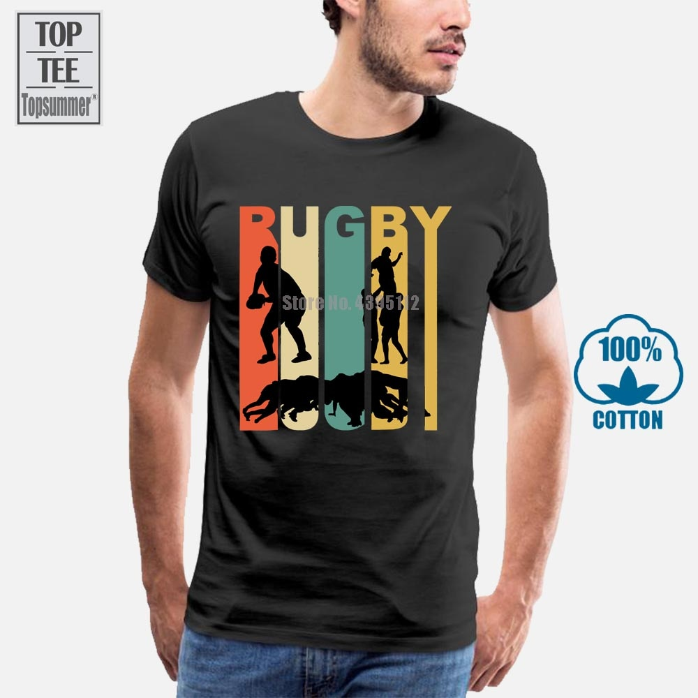 Camiseta masculina vintage 1970 s estilo rugby, camiseta de manga curta para verão 2019