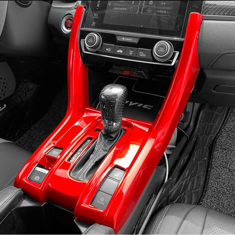 Fit For Honda Civic 10th 2016-2021 Red Console Gear Shift Frame Cover Trim ABS