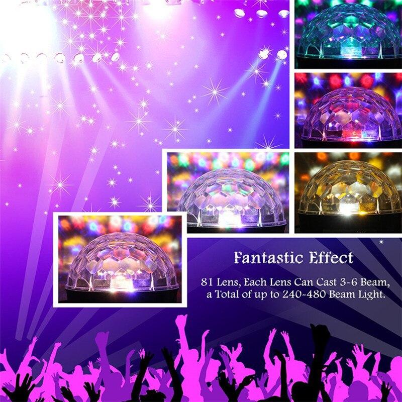 9 Цвет Bluetooth Дискотека Свет MP3 Плеер Динамик Светодиод RGB Сцена Свет Вращающийся Люмьер Звук Активированный DJ Магия Шар Вечеринка Лампа