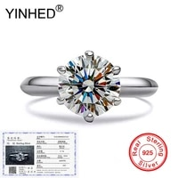 send certificate yinhed genuine 925 sterling silver ring stamped s925 fine jewelry 2ct round cz diamond soliraire ring zr221