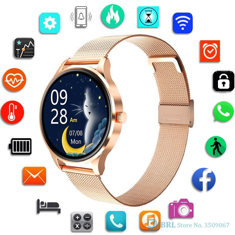 JBRL السيدات ساعة ذكية النساء ضغط الدم مراقب معدل ضربات القلب جهاز تعقب للياقة البدنية الرياضة الذكية Clcok إنذار تذكير Smartwatch