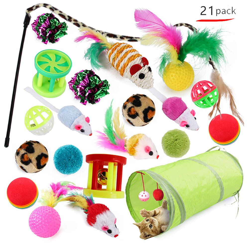 AliExpress - 21Pcs Cat Toys Kit Collapsible Tunnel Cat toy Fun Channel Feather Balls Mice Shape Pet Kitten Dog Cat Interactive Play Supplies