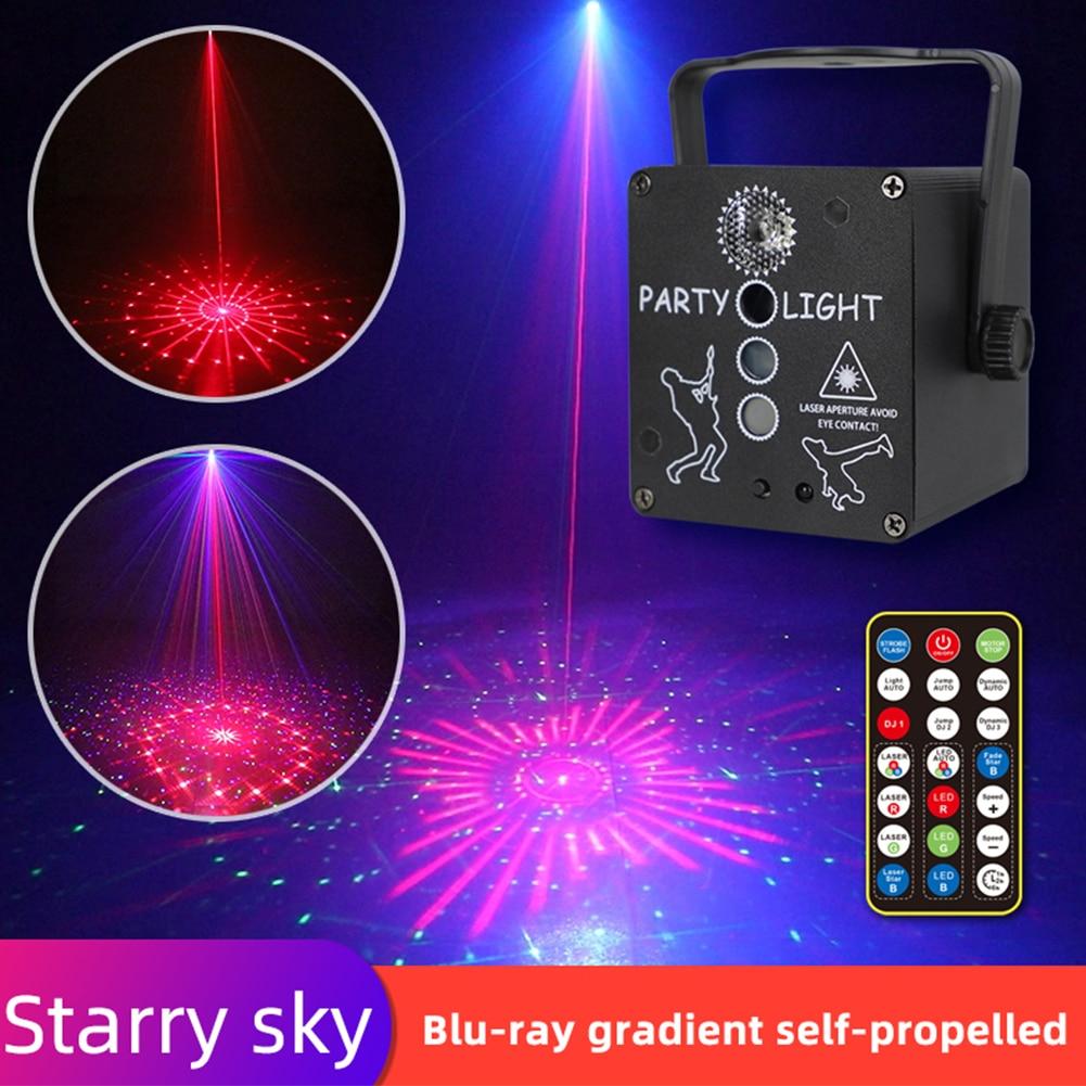 4 объектив Mini RGB LED Disco Light 5V USB Recharge RGB Laser Projection Lamp Stage Lighting Show for Home Party KTV DJ Dance Floor