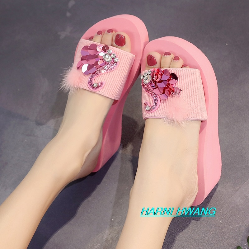 Crystal Swan Pattern Fashion Casual Ladies Slippers Comfortable Slope With Flip-flops Summer New Girls Heightening Sandals недорого