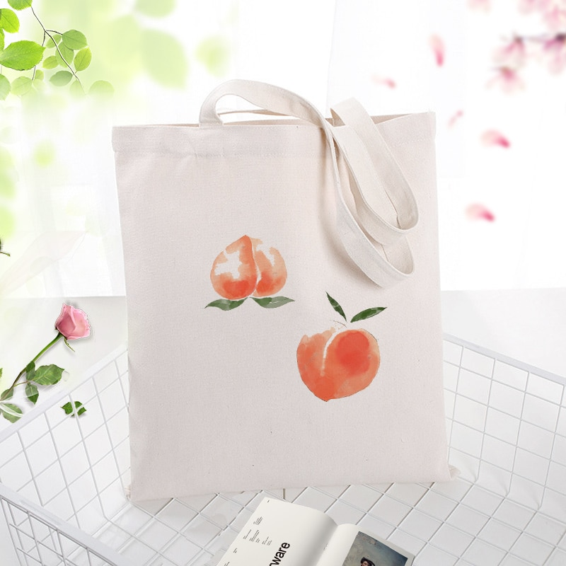 Bolso de compras de lona de color melocotón de miel, bolso de bricolaje con texto con logotipo impreso personalizado, uso diario, ecológico, reutilizable, reciclable