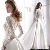 Wedding Dresses 2021 Elegant Full Sleeve Court Train Vestido De Noiva A-line Princess Luxury Light  Dress