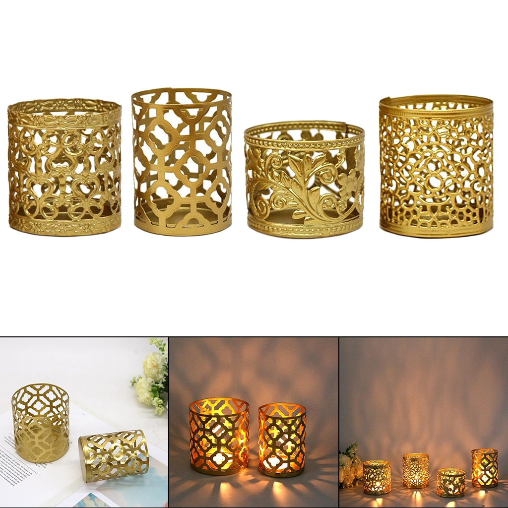 Retro Hollowed Candle Holder Tealight Candlestick Stand Holder Table Decor  - buy with discount