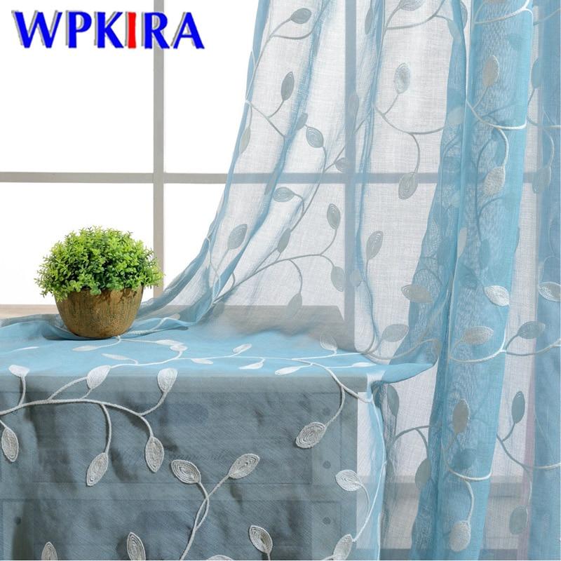 Cortina de gasa verde azul semisombreada, línea de algodón blanco, Panel de tratamiento de ventana de hoja bordada, tul en sala de estar transparente P0723