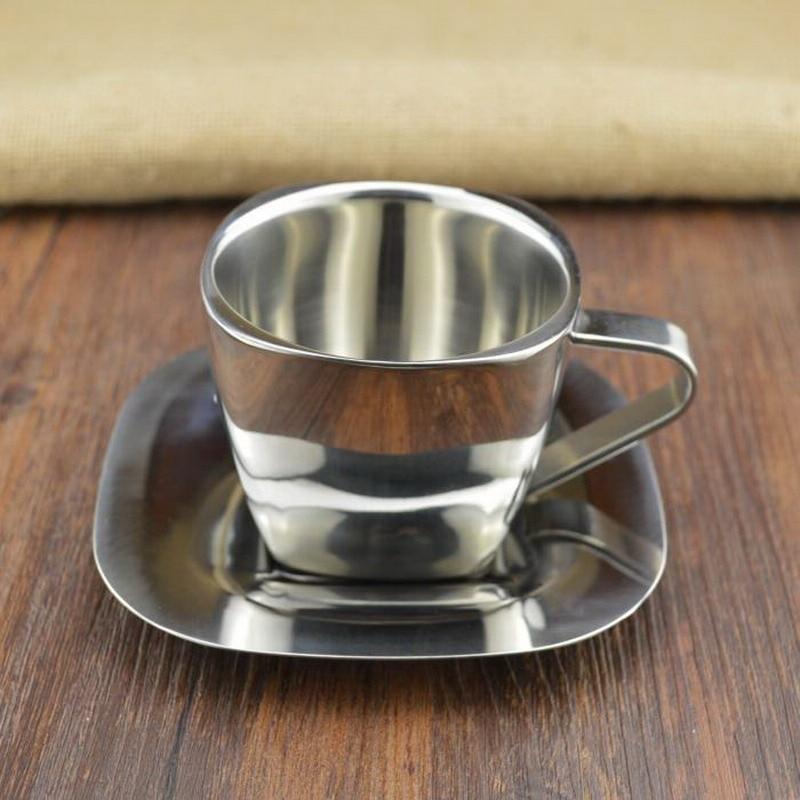 Taza de café de acero inoxidable de alta calidad, taza de té de aislamiento térmico, juego de café con plato