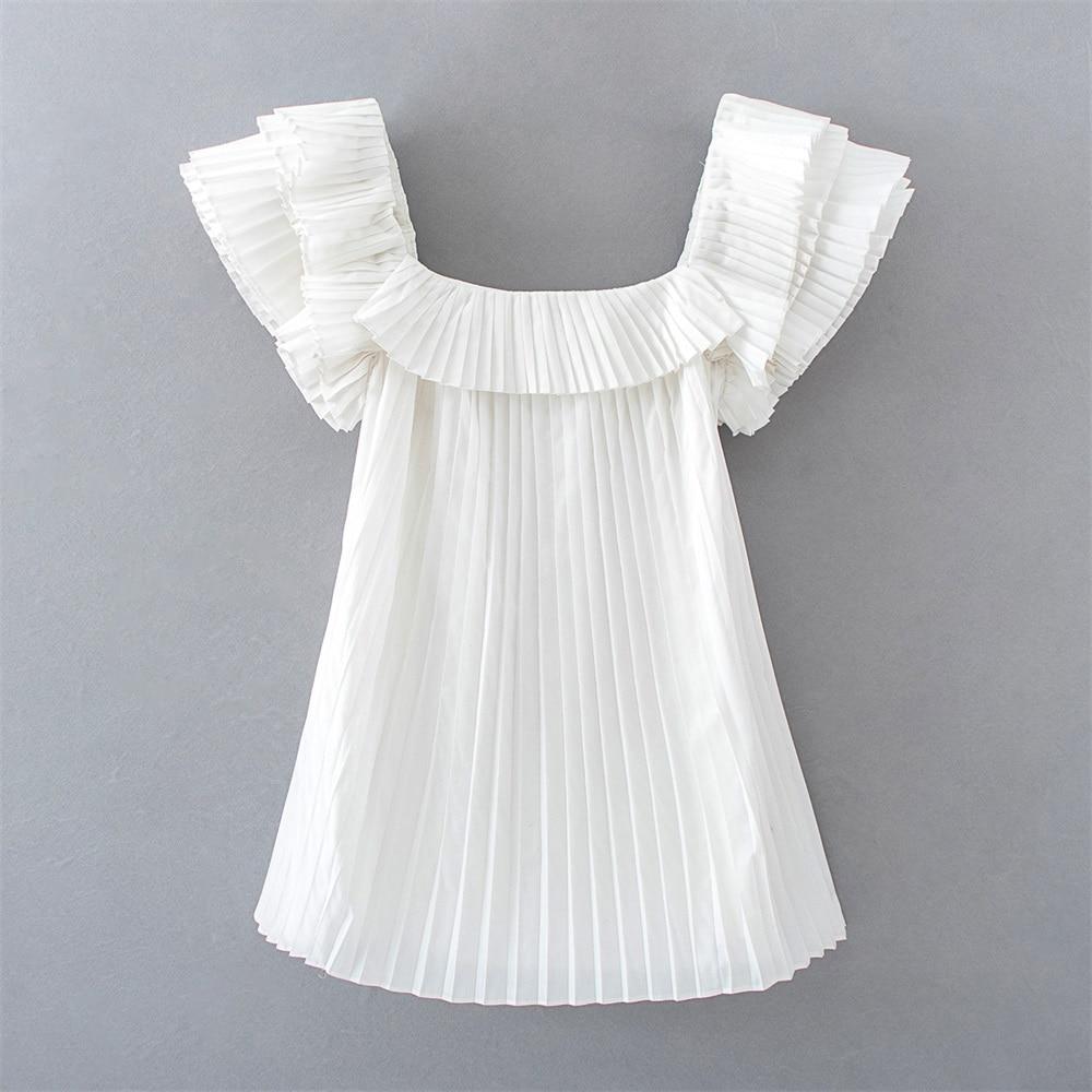 2020 primavera e verão novo francês gola quadrada sem mangas vestido curto fofo em camadas decoração com forrado pequeno vestido plissado